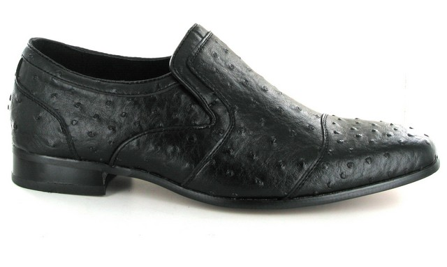 MENS black DOTTED SLIP ON LOAFERS ROUNDED TOE TASSLE ROSSELLINI ALTEZA