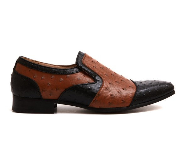 MENS DOTTED SLIP ON LOAFERS ROUNDED TOE TASSLE ROSSELLINI ALTEZA brown and black