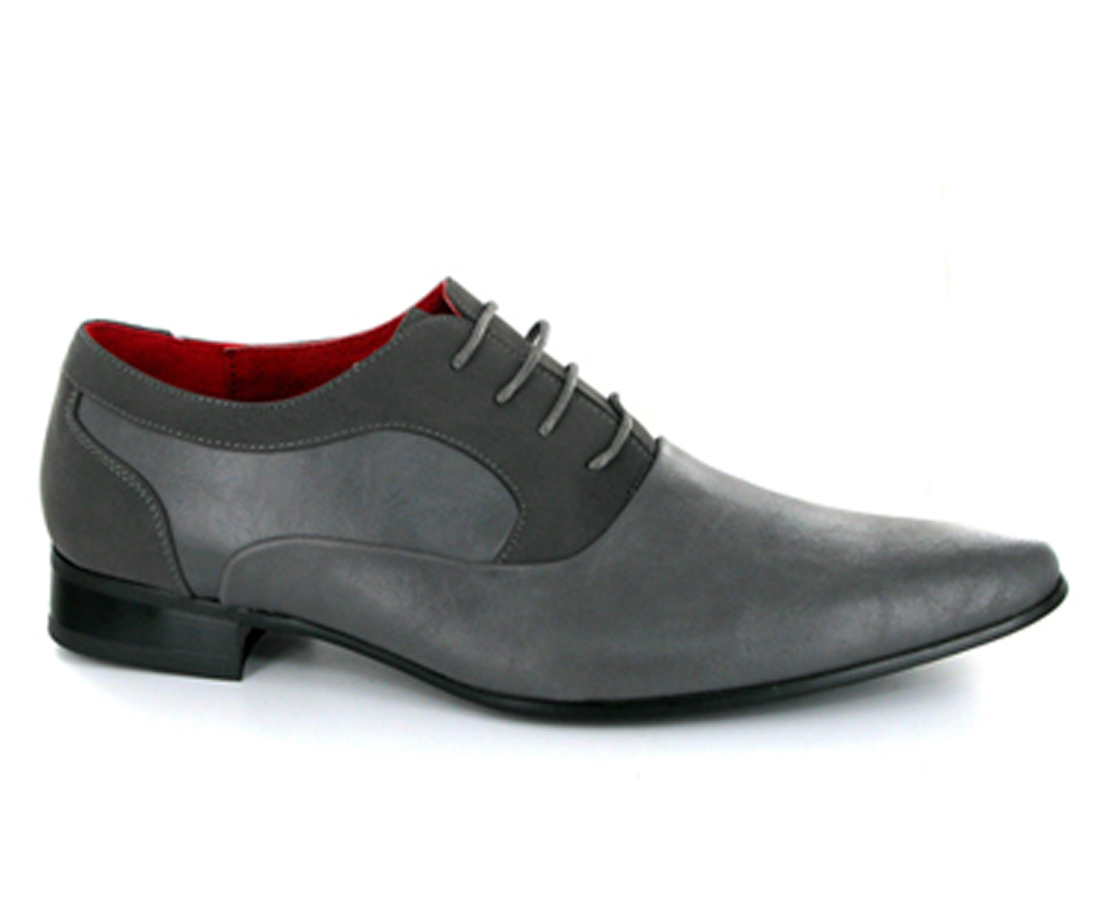 Armando MENS FAUX SUEDE POINTED SHINY PATENT LACED SHOES grey