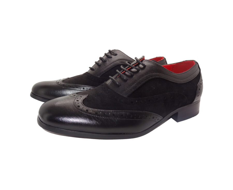 ROSSELLINI BORSALINO BLACK SUEDE PATENT LEATHER BROGUES LACE UP