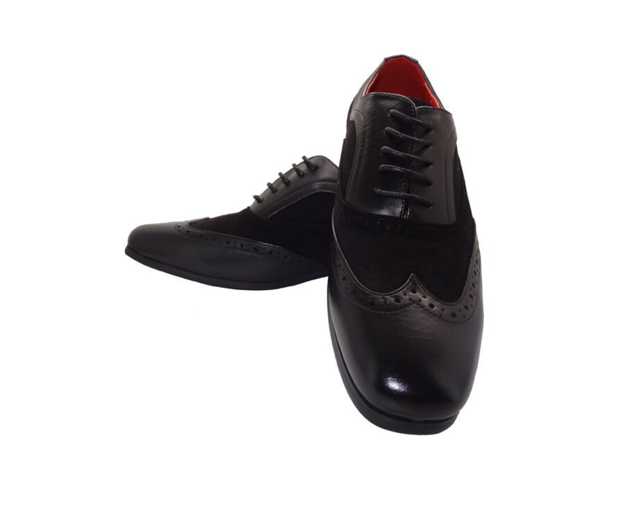 ROSSELLINI BORSALINO BLACK SUEDE PATENTBROGUES LACE UP SHOES