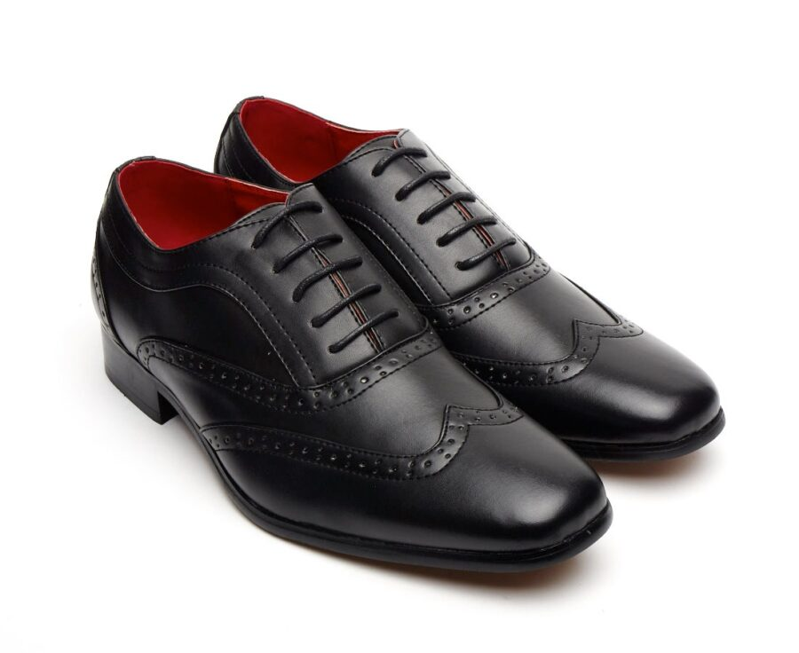 MENS FITALIAN DESIGNER LACE-UP POINTED BLACK PATENT LEATHER BROGUES ROSSELLINI BORSALINO