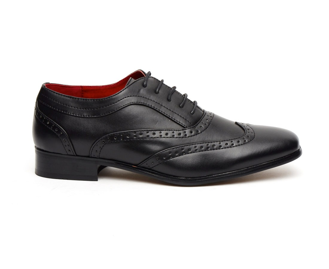 FITALIAN DESIGNER LACE-UP POINTED BLACK PATENT LEATHER BROGUES ROSSELLINI BORSALINO