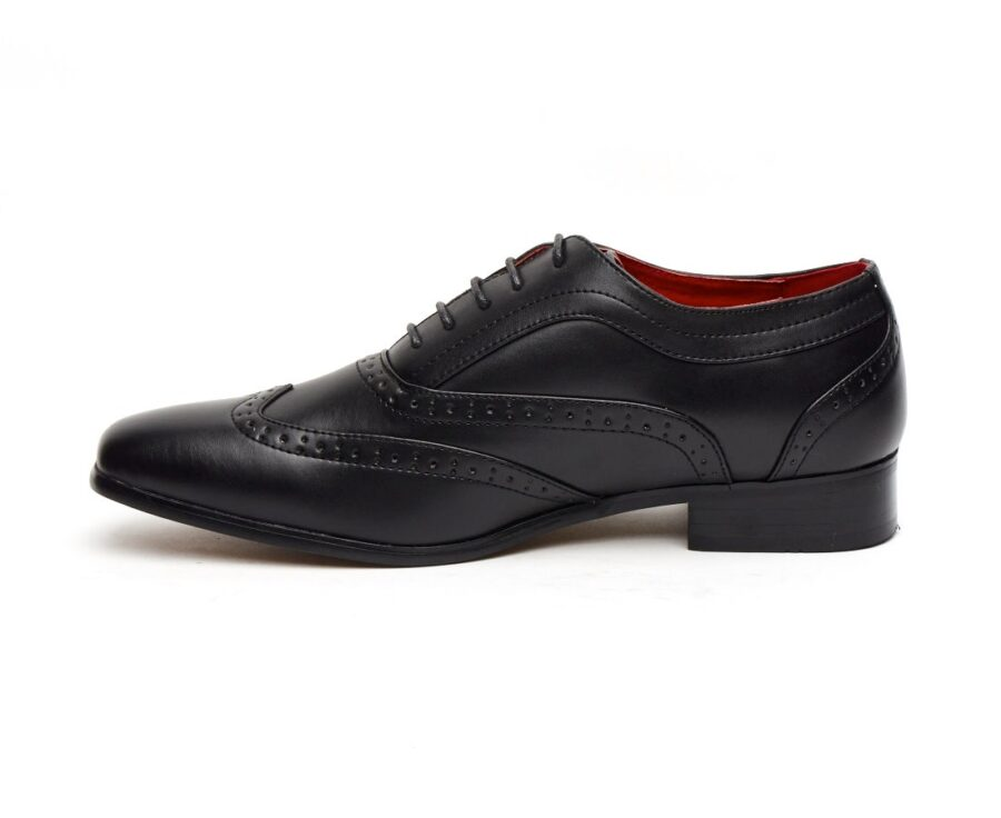FITALIAN DESIGNER LACE-UP POINTED BLACK PATENT LEATHER BROGUES ROSSELLINI BORSALINO FOR MEN