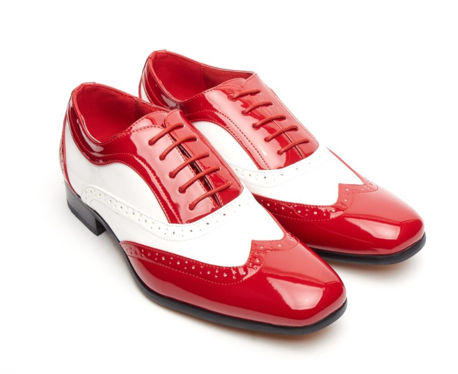 ITALIAN DESIGNER LACE-UP POINTED TOE RED AND WHITE PATENT BROGUES