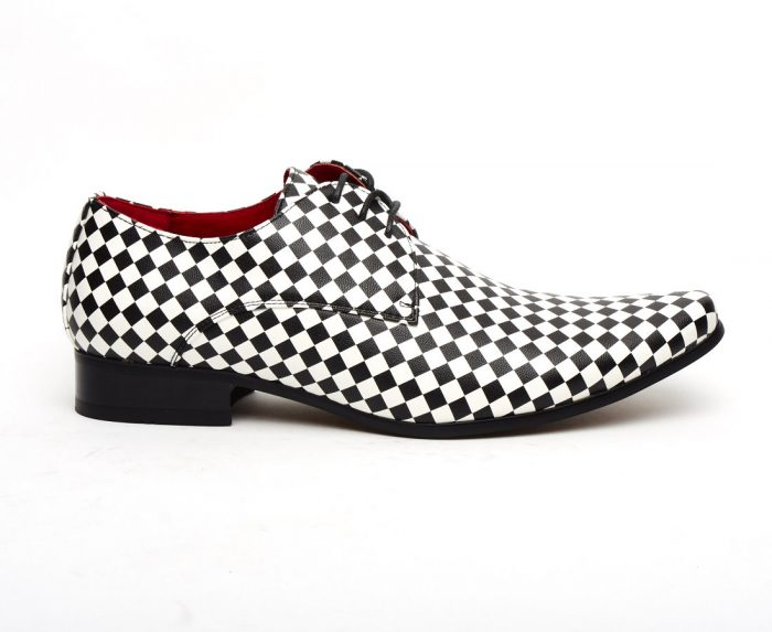 MENS POINTED CHECKED LACE BLACK WHITE