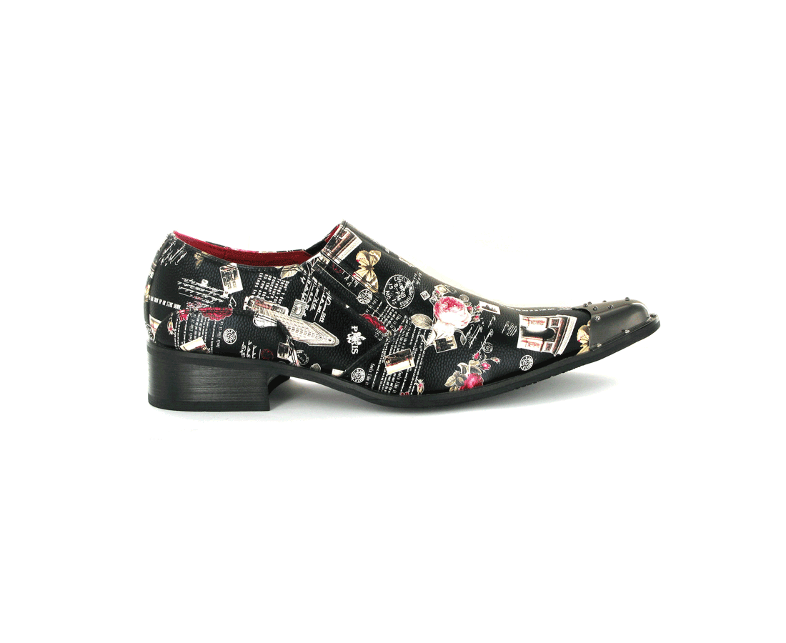 LEATHER LINED METAL POINTED SLIP ON BLACK ROSSELLINI CONTINENTAL