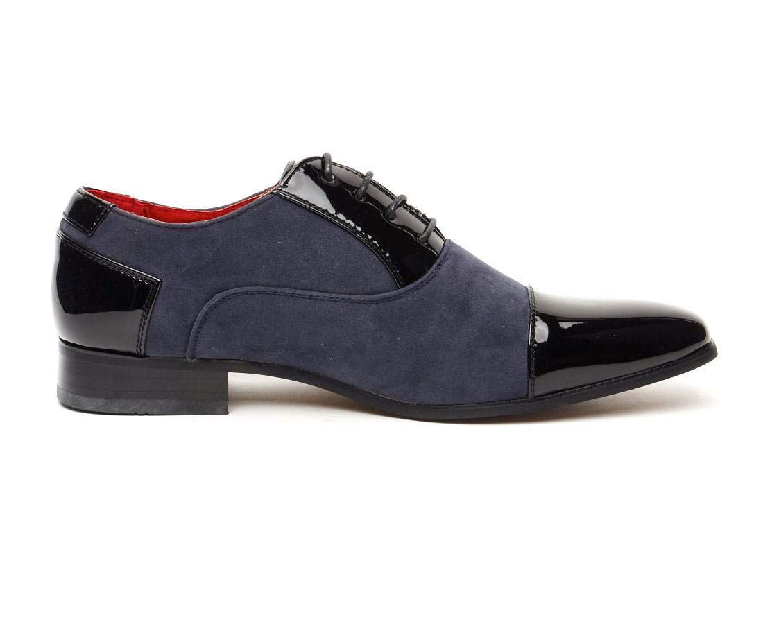 FAUX SHINY LEATHER POINTED NAVY