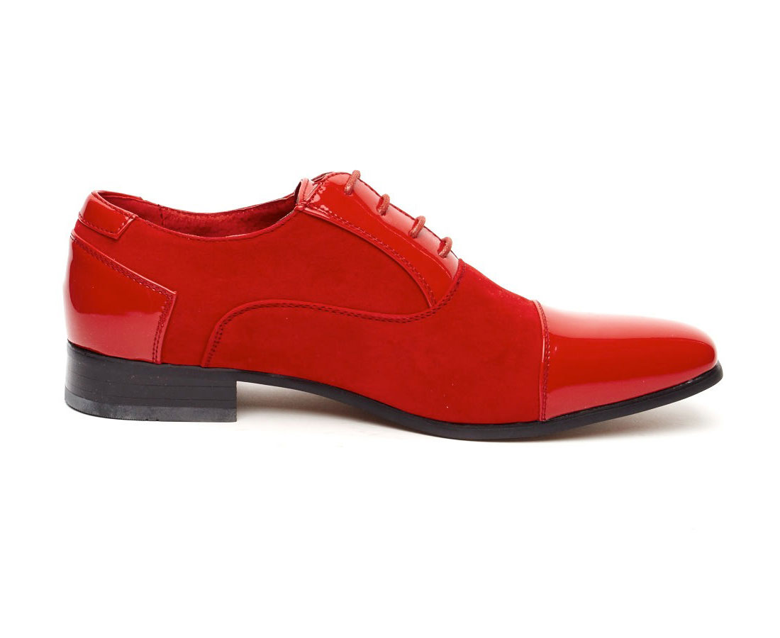 HARRY FAUX SHINY LEATHER POINTED RED