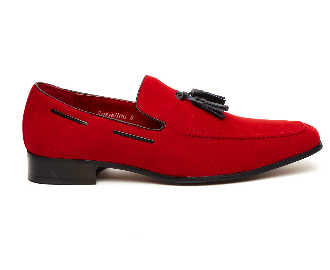 FAUX SUEDE MOCCASIN TASSEL RED