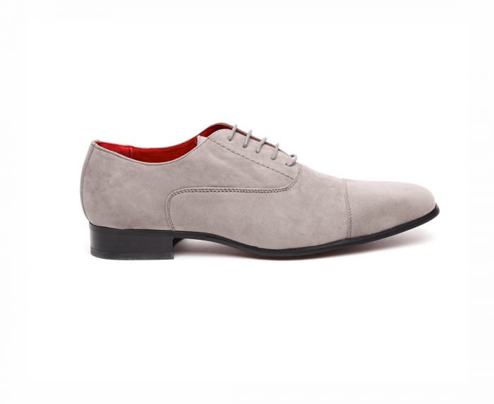 MENS FAUX SUEDE LACE-UP CASUAL SHOES ROSSELLINI MARIO GREY