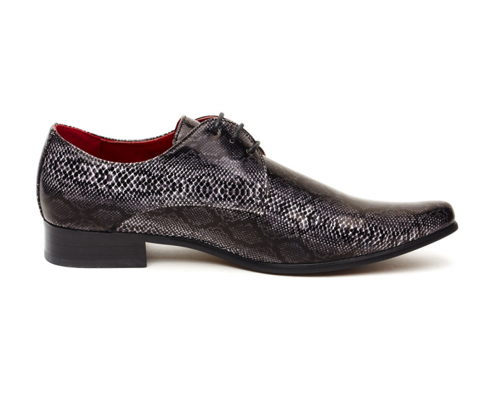 MENS FAUX SNAKE LACE UP POINTED TOE