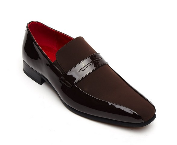 FORMAL PATENT SUEDE SLIP on shoes brown