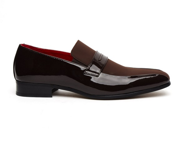 Mens Shoes Italian Designer Slip On Faux Shiny Leather Moccasin Loafers Monzese