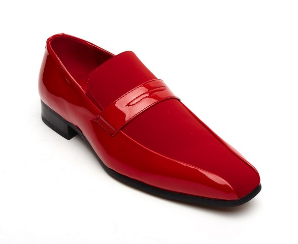 FORMAL PATENT SUEDE SLIP on shoes red