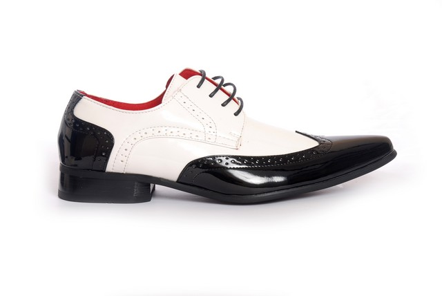 MENS POINTED BROGUES LACE UP CASUAL SHOES PRATO Z2 black white