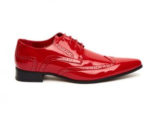 MENS POINTED BROGUES LACE up shoes red