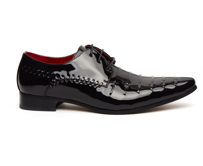 MENS PATENT POINTED TOE LACE UP SHOES ROSSELLINI PRATO Z3