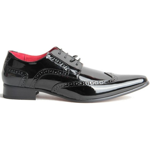 MENS POINTED BROGUES LACE UP CASUAL SHOES PRATO Z2 black