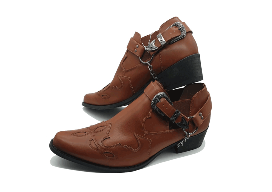 ITALIAN MENS ANKLE BUCKLE ROSSELLINI VENEZIA brown pointed toe boots