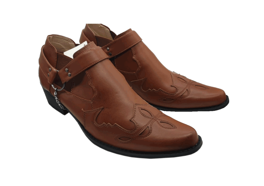 ITALIAN MENS ANKLE BUCKLE up pointed toe boots ROSSELLINI VENEZIA brown
