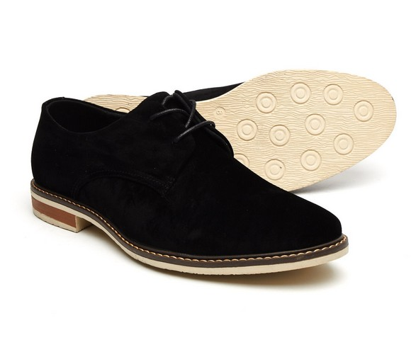 MENS FAUX SUEDE LACE up rounded toe shoes black