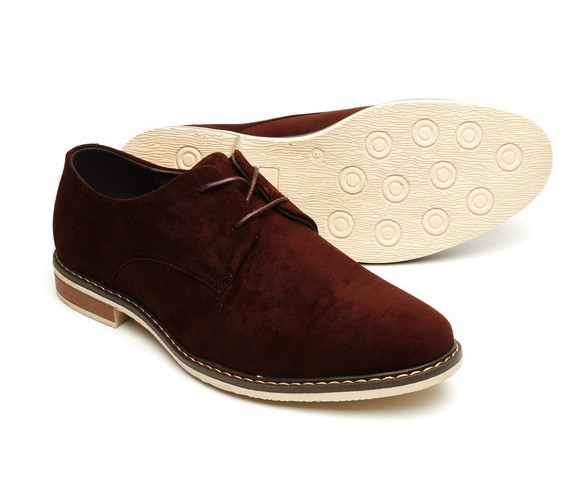 MENS FAUX SUEDE LACE up rounded toe shoes