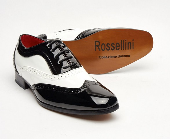 ITALIAN DESIGNER LACE-UP POINTED TOE BLACK AND WHITE PATENT BROGUES