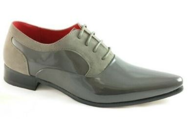MENS FAUX SUEDE POINTED SHINY PATENT LACED SHOES grey