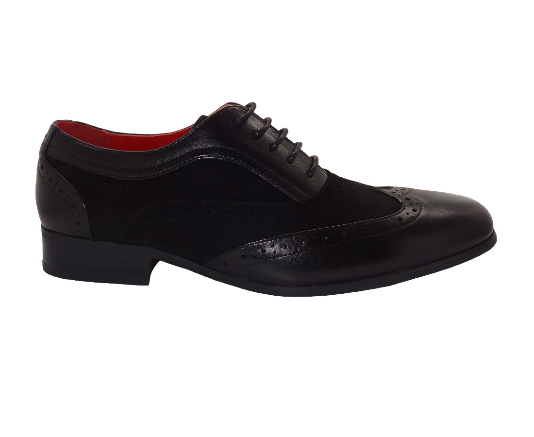 ITALIAN DESIGNER LACE-UP POINTED BLACK SUEDE AND PATENT LEATHER BROGUES ROSSELLINI BORSALINO
