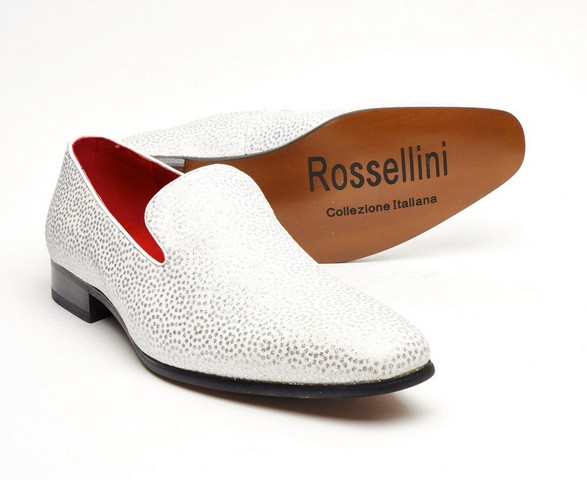 MENS GLITTER MOCCASIN LOAFERS CASUAL SLIP ON ROSSELLINI CARLO white shoes