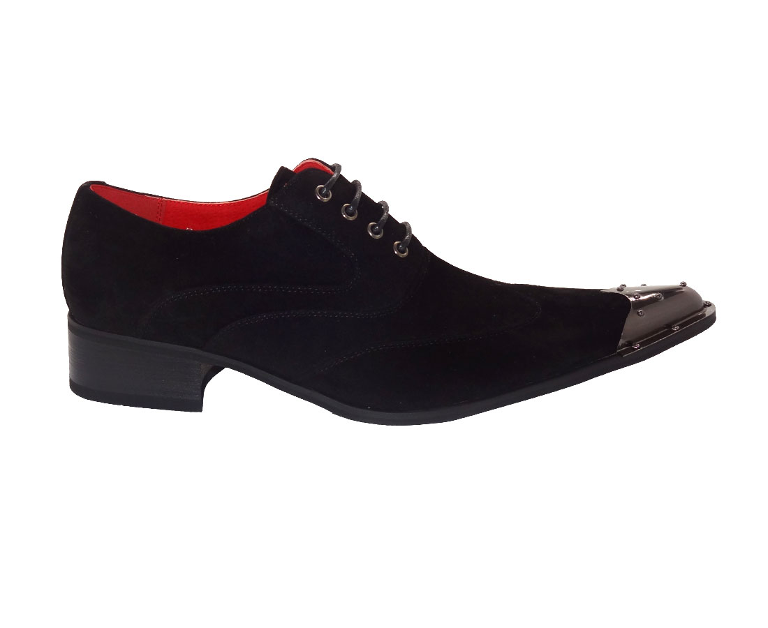 MENS METAL POINTED FORMAL LACE-UP SHOES ROSSELLINI ELVIS BLACK suede