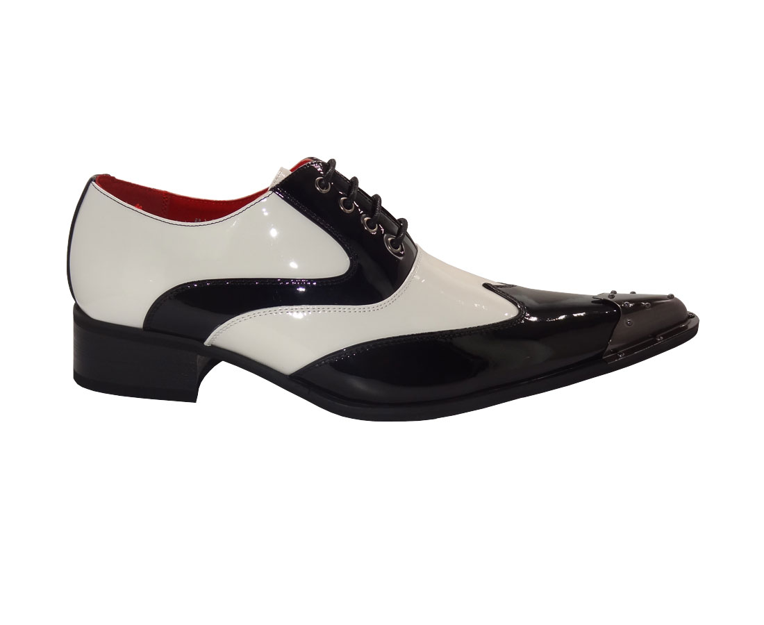 MENS METAL POINTED FORMAL LACE-UP SHOES ROSSELLINI ELVIS BLACK WHITE shiny
