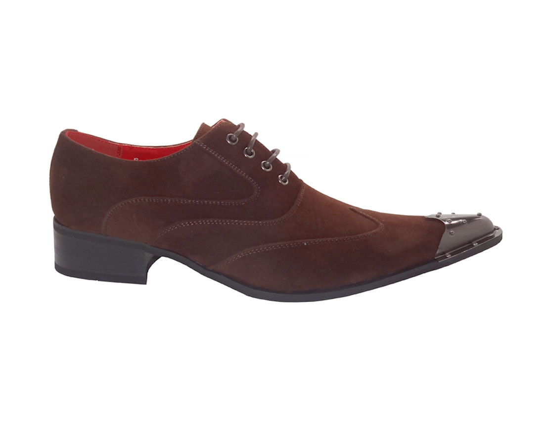 MENS METAL POINTED FORMAL LACE-UP SHOES ROSSELLINI ELVIS Brown suede