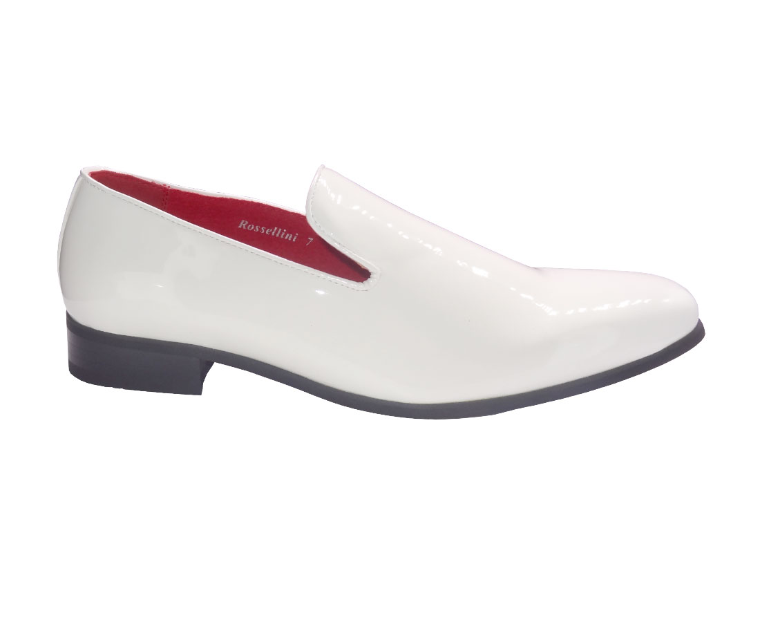 MOCCASIN FAUX SUEDE PATENT leather shiny white slip on