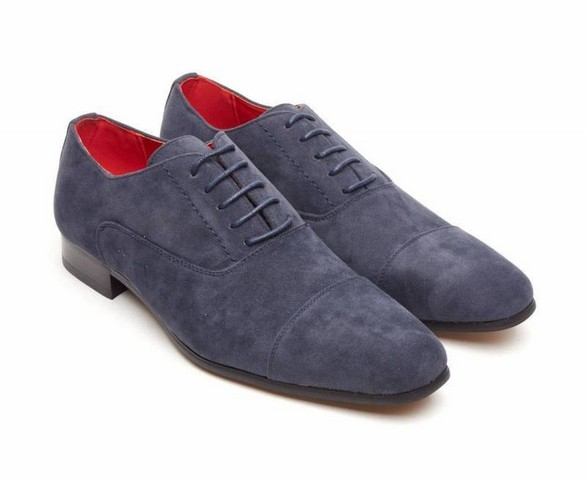 FAUX SUEDE LACE-UP CASUAL SHOES navy