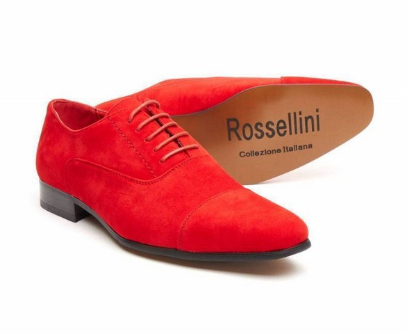 MENS FAUX SUEDE LACE-UP CASUAL SHOES ROSSELLINI MARIO red