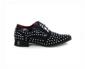 MENS LACE-UP STUDDED POINTED SHOES FAUX SUEDE ROSSELLINI NAPLES